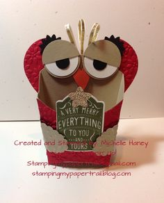 Owl Fry Box using Stampin' Up! Merry Everything Stamp Set.