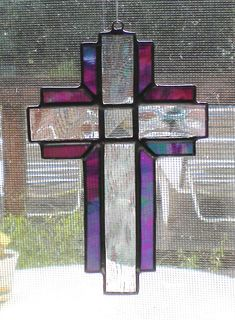 Iridescent Purple and Clear Stained Glass Cross with glass Bevel