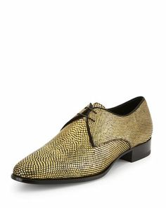 New Blake Metallic Derby Shoe, Gold by Saint Laurent at Neiman Marcus.