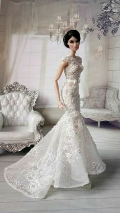 Barbie Bridal, Barbie Wedding Dress, Barbie Gowns, Doll Clothes Barbie, Barbie Dress, Bridal Dresses, Fashion Royalty Dolls, Fashion Dolls, Detachable Wedding Dress