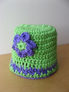 Hand Crocheted Baby Hat with Flower Green and by coriescrafts, $14.99