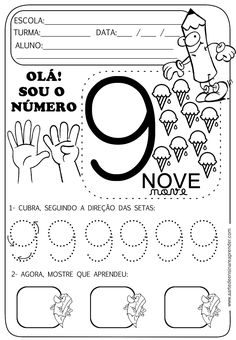 Atividade pronta - Numeral 9 - A Arte de Ensinar e Aprender Kids Math Worksheets, Printable Activities For Kids, Tracing Worksheets, Free Printable Worksheets, Senses Activities, Autism Activities, Working With Children, Kindergarten, Letters