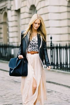 A long soft skirt + a hard looking leather jacket.