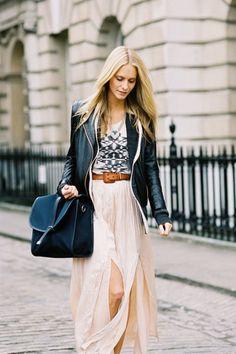leather jacket + long skirt