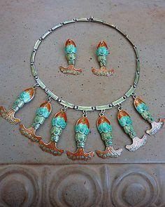 RARE Vintage Signed Margot de Taxco Mexico Sterling Enamel Fish Necklace Earring | eBay