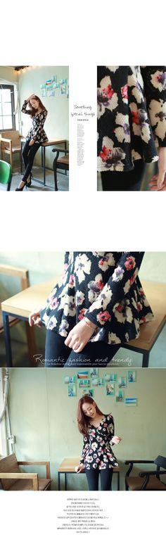 FIONA T-SHIRT 148175 < 허니기모*tee/f13774 겉기모 소재로 포근한~랩스타일로 볼륨감있는 핏 만들어주는로맨틱한 플라워패턴의 티셔츠♥ < FASHION / CLOTHES < WOMEN < T-SHIRT