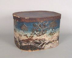 Wallpaper covered hat box, mid 19th c., 12'' h., 18 1/2'' w., 15 1/2'' d.
