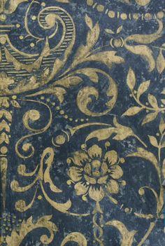 BAROQUE DESIGNER NAVY, GOLD DAMASK WALLPAPER from Atlanta Wallpaper Store