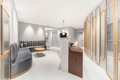 ZLT – Medical Office at the Limmat Tower in Zurich Apartment Renovation, Apartment Interior Design, Optometry Office, Reception Furniture, Office Space Design, Clinic Design, Commercial Furniture, Contract Furniture, Retail Design