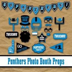 Carolina Panthers Football Photo Booth Props and Party Decorations - Printable - Over 35 Images in PDF Format - INSTaNT DOWNLoAD    PLEASE NOTE: