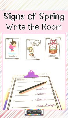 Spring is just around the corner. Help your students recognize the Signs of Spring with this Write the Room resource. Preschool and kindergarten students practice seasonal vocabulary by searching for 12 mini posters and recording the words on differentiated response sheets. #spring #preschool #kindergarten