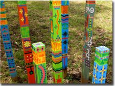 Decorate your garden with Mernda Totems Use these brightly coloured treated pine posts as a guide for creating your own Mernda Totems to decorate your garden or courtyard..