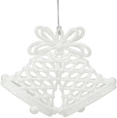 Glittered Double White Church Bells Tree Decoration #ukchristmasworld #barnsley #christmas #decoration #festive #hanging #christmastree #display http://www.ukchristmasworld.com/Shop/Christmas-Tree-Decorations/White-Decorations/3391-Glittered-Double-White-Church-Bells-Tree-Decoration.html