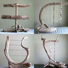 Driftwood 3 Tiered Bracelet Display with Ring Pegs Bracelet Organizer Photography Prop Boutique Display Jewelry Display Driftwood Art Driftwood Jewelry, Driftwood Crafts, Wooden Jewelry, Vintage Jewelry, Diy Schmuck, Schmuck Design, Jewellery Storage, Jewelry Organization, Jewellery Shops