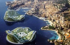 Lilypads: Monaco - REXリリパッド(モナコ) 建築家ビンセント・カレボーが考案する最先端の水上都市「リリパッド」。5万人を収容できる避難用シェルターとして設計予定。太陽光などから再生可能エネルギーを創出、大気循環も行う。