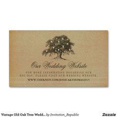 Vintage Old Oak Tree Wedding Website Double-Sided Standard Business Cards (Pack Of 100)