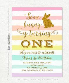 bunny birthday invitation rainbow easter birthday party invitation