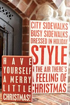 Christmas Decor. Decorative Box Signs at ChristmasLtd. Love these modern Christmas signs!!! Might have to DIY this!!