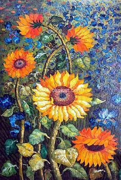 Mosaico de Flores from Young Dreamers Art. Mosaic Glass, Mosaic Tiles, Glass Art, Stained Glass, Mosaic Crafts, Mosaic Projects, Mosaic Designs, Mosaic Patterns, Sunflower Quilts