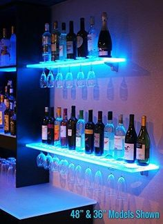 Floating Shelves w/ Wine Glass Rack, LED Lighting & Brackets can find Led and more on our website.Floating Shelves w/ Wine Glass Rack, LED Lighting & Brac.