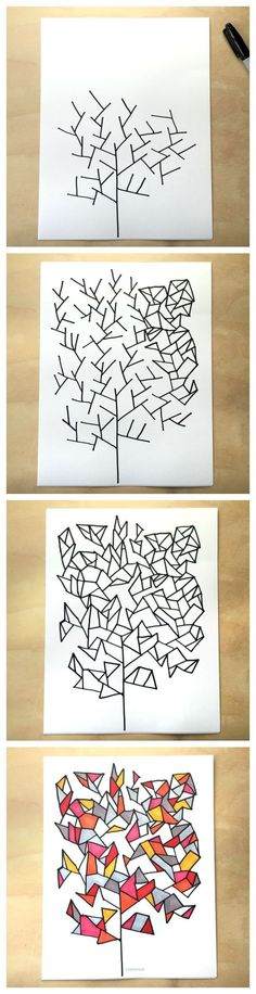 Simple drawing game- draw some geometry trees - from Tangle Art and Drawing Games for Kids book Best Picture For Art Education brand For Your Taste You are looking for something, and it is going to te Drawing Games For Kids, Art For Kids, Drawing Ideas Kids, Art Drawings For Kids, Art Lessons For Kids, Drawing Projects, Middle School Art, Art School, Arte Elemental