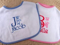 Custom Boutique Monogrammed Personalized Terry Cloth Baby Bib.