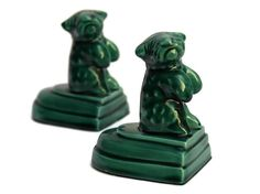 Antique Dog Bookends. Green Glazed Ceramic by LeBonheurDuJour