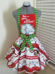 The Grinch Apron How the Grinch Stole by AquamarCouture on Etsy, $48.50