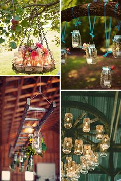 mason jars inspired rustic wedding hang decorations