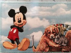 Mickey and friends, fabric postcard.