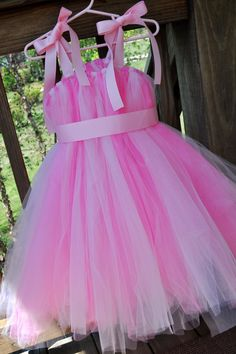Light and Dark Pink SEWN Knee Length Tutu Dress..Available in sizes 3 months and up..Ask about custom colors..Great for Princess Costumes via Etsy