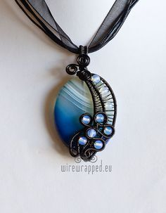 OOAK Dawn gothic blue agate wire wrapped pendant