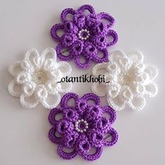 Crochet Flower Patterns, Flower Applique, Crochet Doilies, Crochet Flowers, Crochet Stitches, Irish Crochet, Easy Crochet, Crochet Bouquet, Lace Tape
