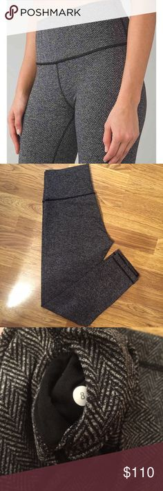 Lululemon Giant Herringbone High Times Size 8- VEUC- 7/8 Length lululemon athletica Pants Leggings