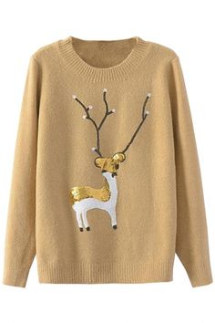 Sequined Deer Knit Sweater