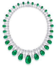 Baroque Emerald Diamond necklace by GRAFF