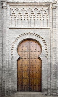 Picture of Medieval moorish-style door on a brick building in Toledo, Spain stock photo, images and stock photography. Building A Door, Brick Building, Islamic Architecture, Interior Architecture, Interior Design, Entrance Doors, Doorway, Toledo Spain, Main Door