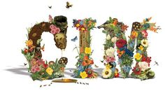 Neuarmy 2008, Organic Type.  Typography developed using various floral elements along with other elements found in nature. Birds nest, beehive, honey, alligator, snake, butterflies, ants, bamboo, mud, etc. The letters C I M, are formed in bold large capitals giving room for a decorative approach of different illustrations from nature. This font uses visuals to create the form and structure of the word and in doing so creates a floral theme.