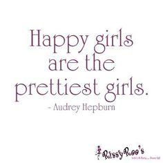 """""""Happy girls are the prettiest girls."""" (Audrey Hepburn) #quotes #beauty #schoonheidssalon"""