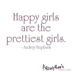 """Happy girls are the prettiest girls."" (Audrey Hepburn) #quotes #beauty #schoonheidssalon"