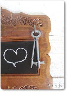 Upcycled Wooden Keys Holder Rack Blackboard. Rustic Home Decor Chalkboard Message Board