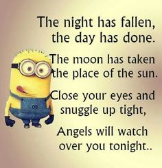 Funny Good Night Minion Quotes Sayings - Yahoo Search Results Yahoo Image Search . Quotes For Him, Cute Quotes, Funny Quotes, Funny Humor, Top Quotes, Humor Quotes, Goodnight Quotes Funny, Ems Funny, Goodnight Post