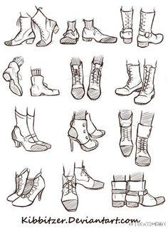 #绘画参考# 只会画几个角度的鞋子可不行...