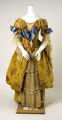 Charles Frederick Worth, Fancy Dress of Silk & Cotton with Large Baby-Blue Bows. French, 1890-1900.