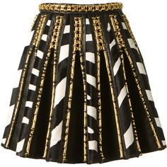 Balmain Black Leather Pleated Skirt Embellished With Gold Brass And Zebra Printed Pony Leather