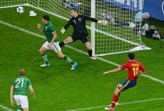 Spain 4 Rep of Ireland 0 in 2012 in Gdansk. Cesc Fabregas scores the 4th goal on 83 minutes in Group C at Euro 2012.