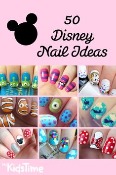 Create a Fairytale Look With 50 Fun and Easy Ideas For Disney Nails D. - Create a Fairytale Look With 50 Fun and Easy Ideas For Disney Nails Disney nail ideas - Disney Diy, Disney Toes, Nail Art Disney, Disney Manicure, Disney Nail Designs, Disney Toe Nails, Easy Disney Nails, Disney Inspired Nails, Mickey Nails