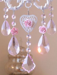 Pink crystal sun catcher pinned with Bazaart Pink Love, Pretty In Pink, Diy Recycling, I Believe In Pink, Romantic Cottage, Everything Pink, Sun Catcher, Pink Christmas, Victorian Christmas