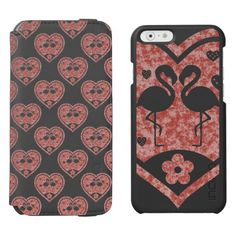 Textured Heart Flamingo Love / Incipio Watson™ iPhone 6, 2-in-1 Wallet Case + Interior Case! Black case color #fomadesign