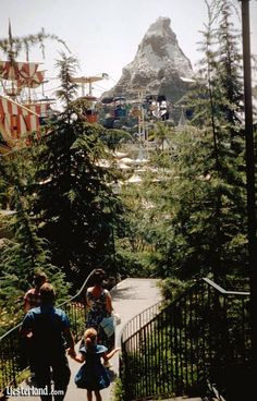 The view from Disneyland's stairway to the Fantasyland Skyway.